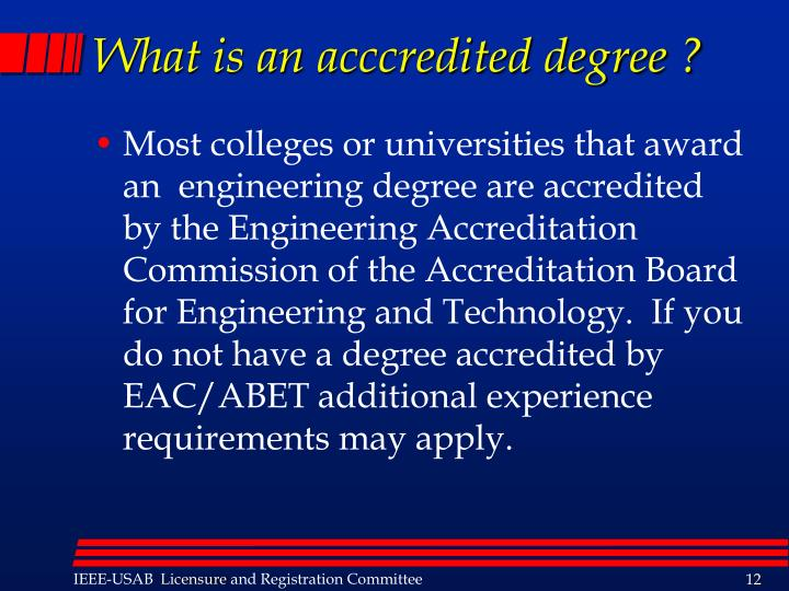 What is an acccredited degree ?