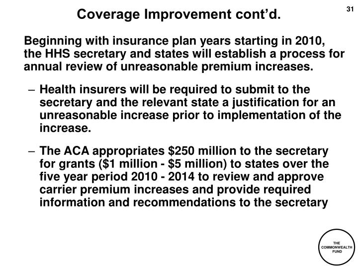 Coverage Improvement cont'd.