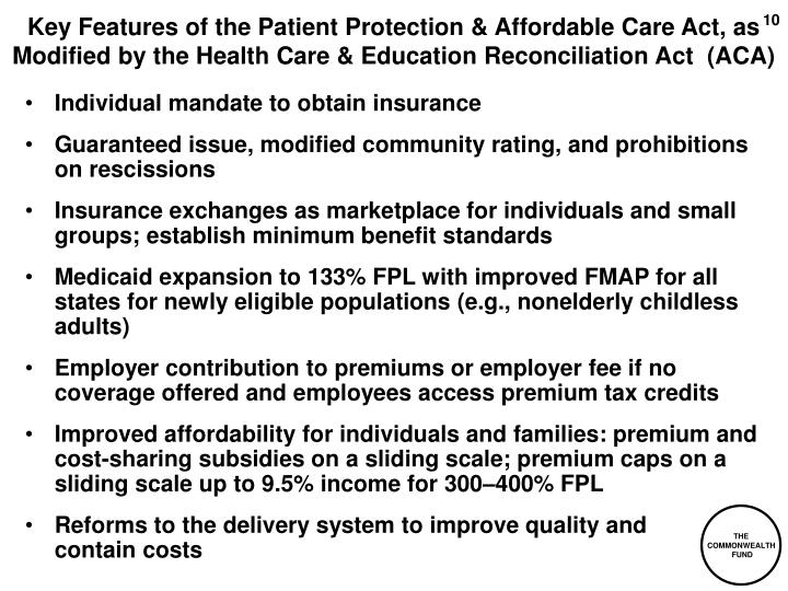 Key Features of the Patient Protection & Affordable Care Act, as Modified by the Health Care & Education Reconciliation Act  (ACA)
