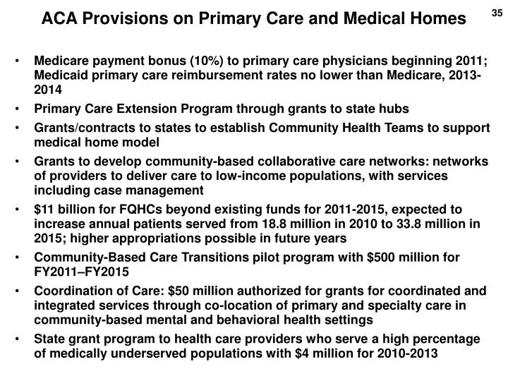 ACA Provisions on Primary Care and Medical Homes