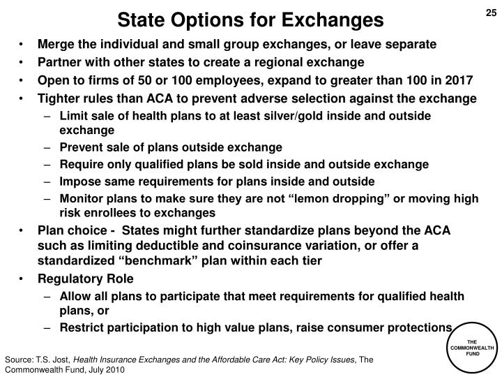 State Options for Exchanges
