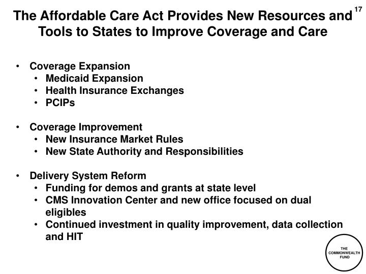 The Affordable Care Act Provides New Resources and Tools to States to Improve Coverage and Care