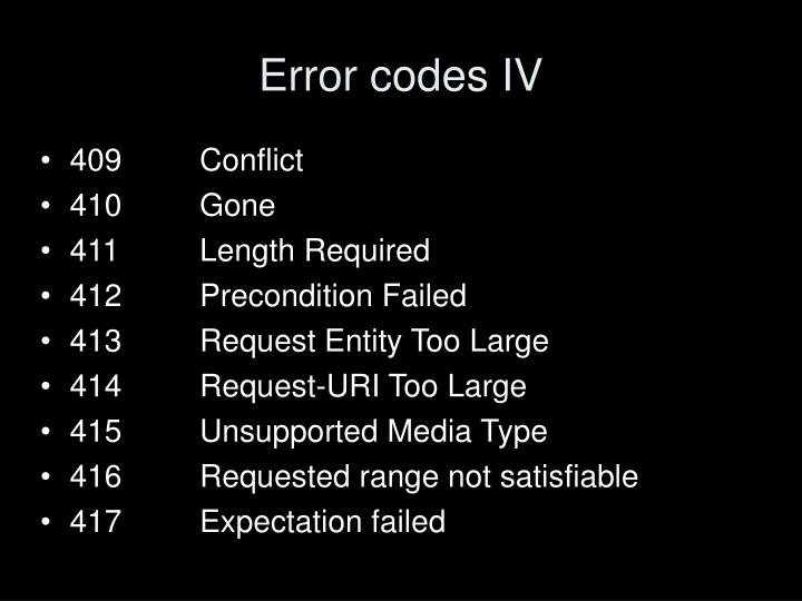 Error codes IV
