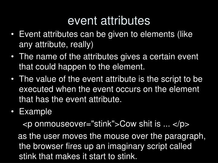 event attributes