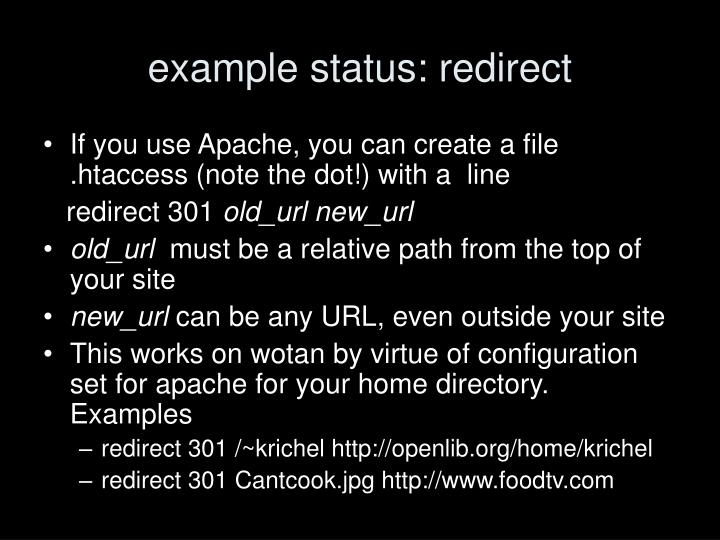example status: redirect