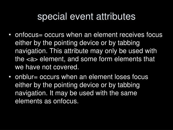 special event attributes