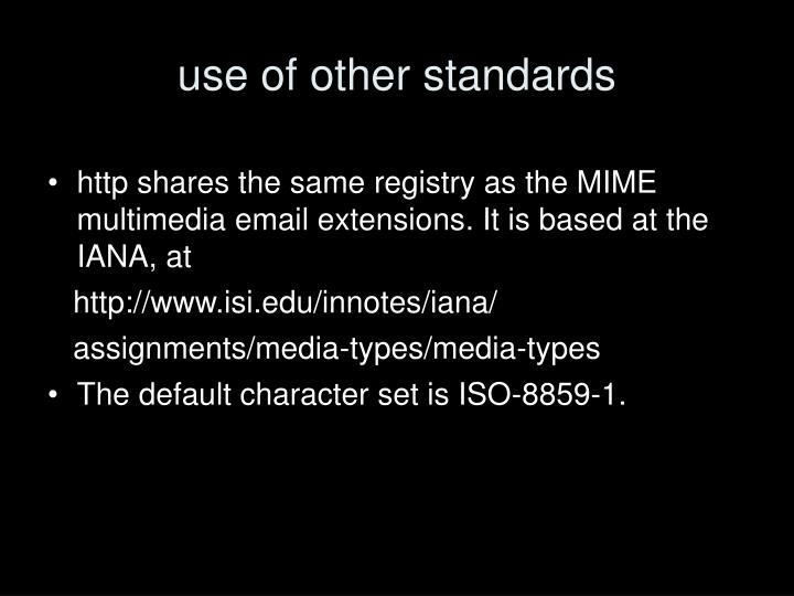 use of other standards