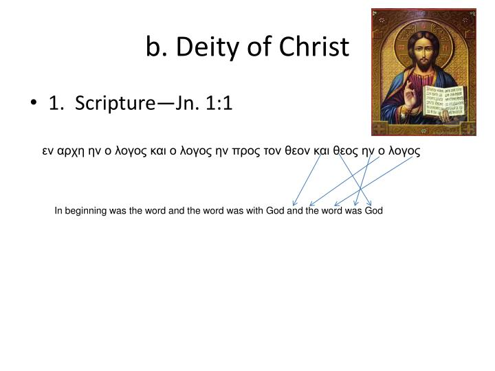 b. Deity of Christ