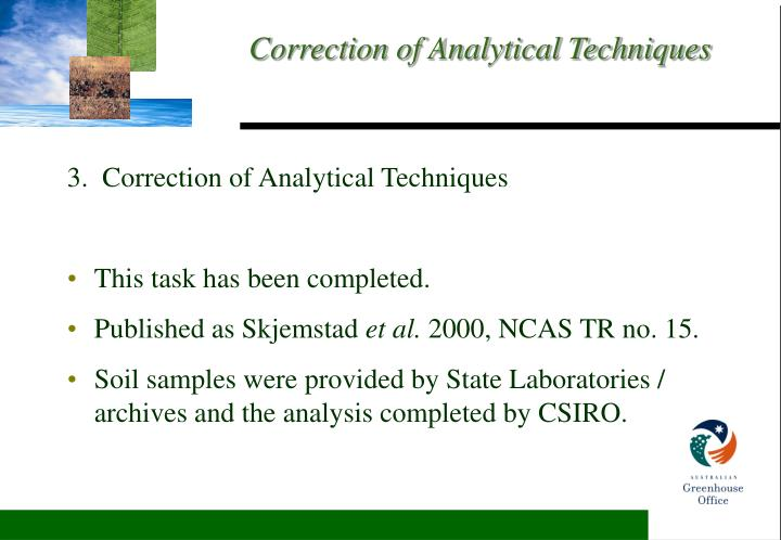 3.  Correction of Analytical Techniques
