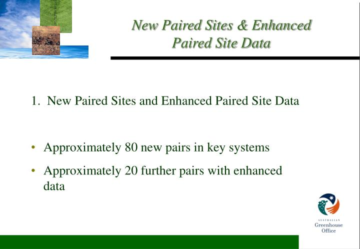 1.  New Paired Sites and Enhanced Paired Site Data