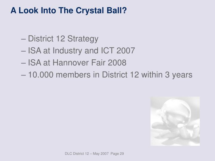 A Look Into The Crystal Ball?
