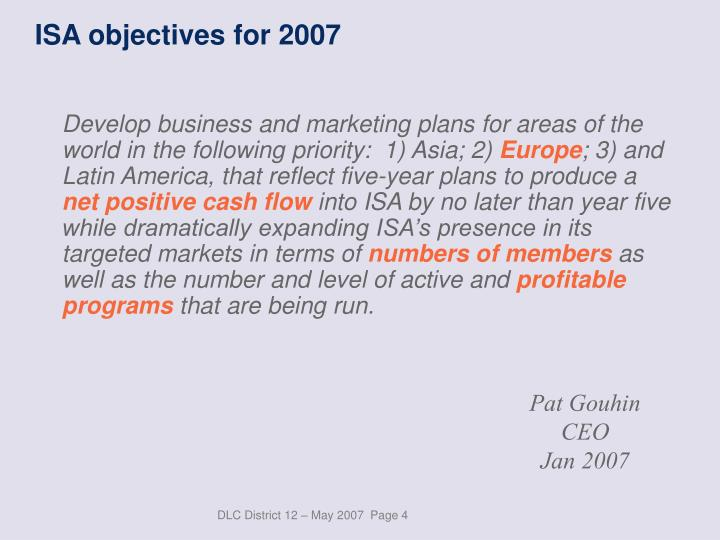 ISA objectives for 2007