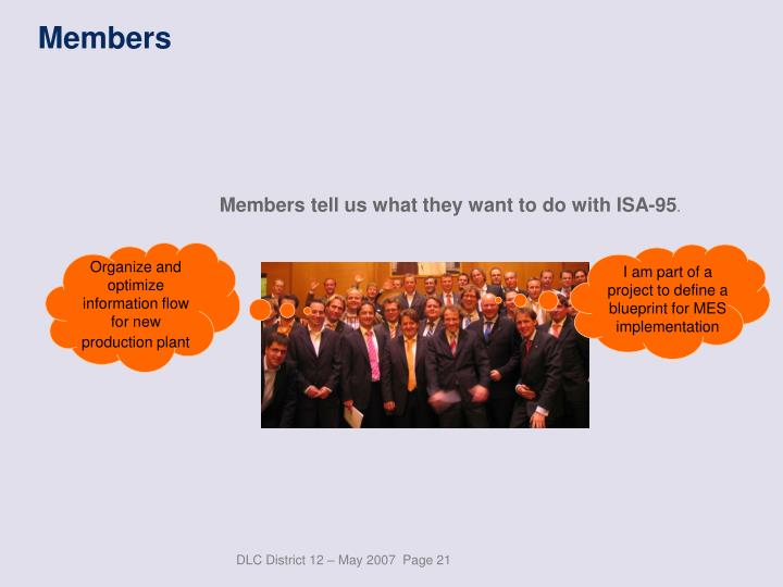 Members tell us what they want to do with ISA-95