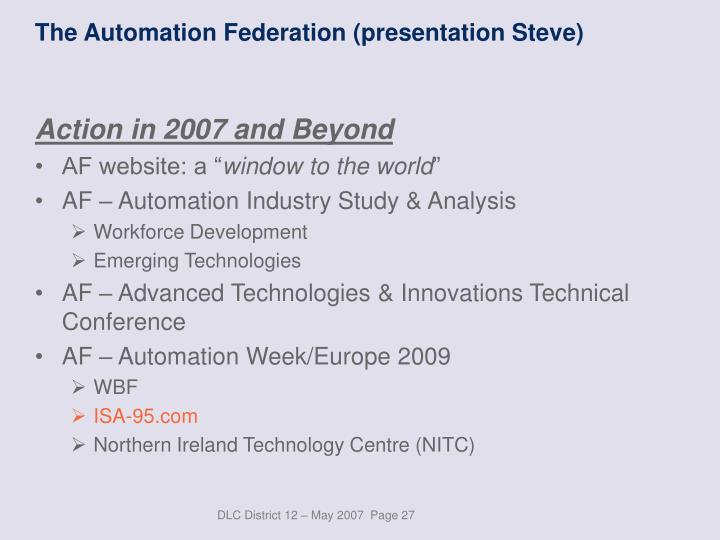 The Automation Federation (presentation Steve)