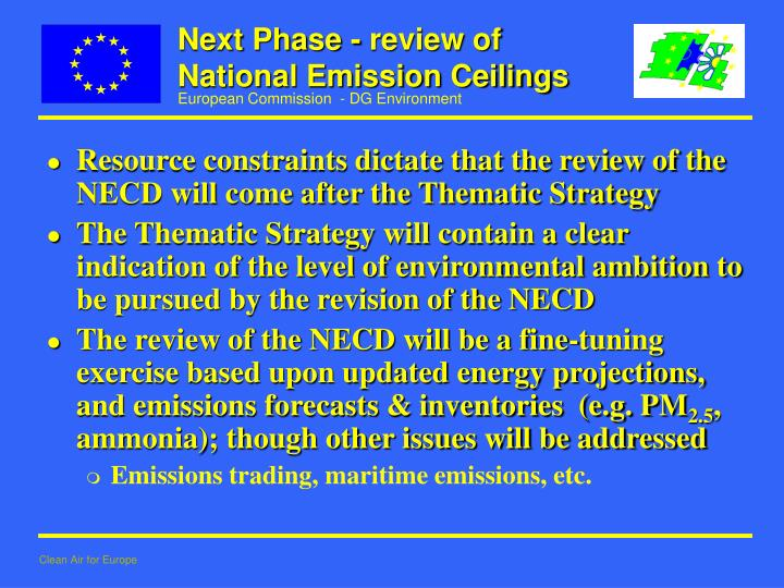 Next Phase - review of National Emission Ceilings