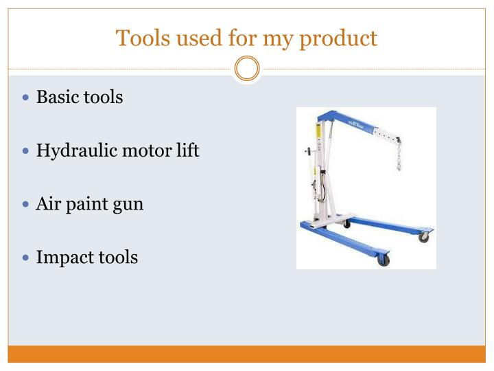 Tools used for my product