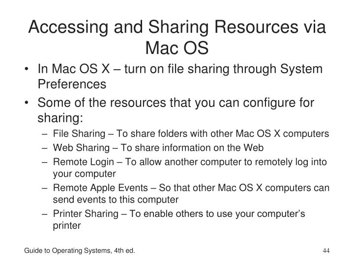 Accessing and Sharing Resources via Mac OS