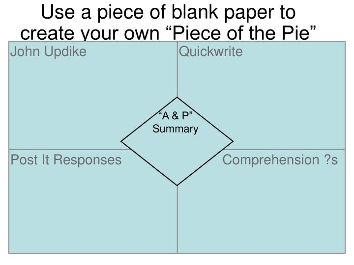 "Use a piece of blank paper to create your own ""Piece of the Pie"" foldable."