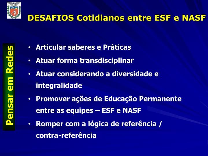 DESAFIOS Cotidianos entre ESF e NASF