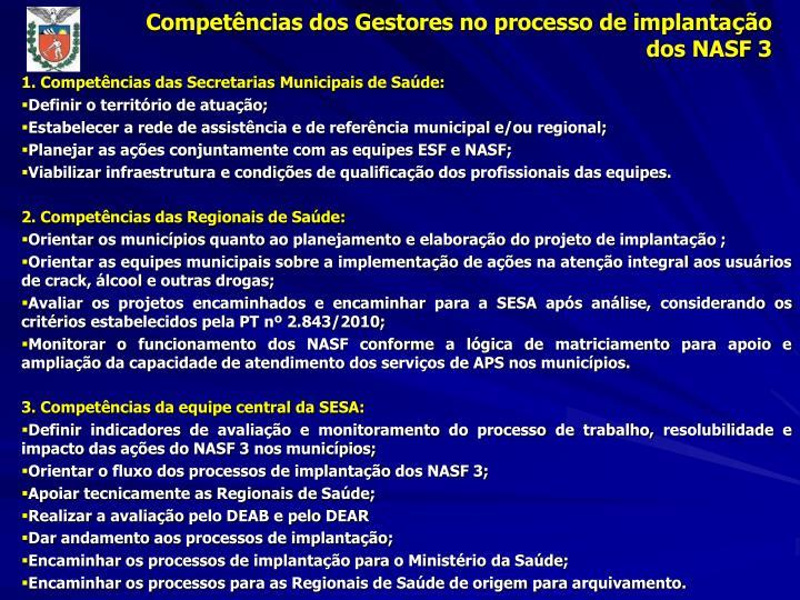 Competências dos Gestores no processo de implanta