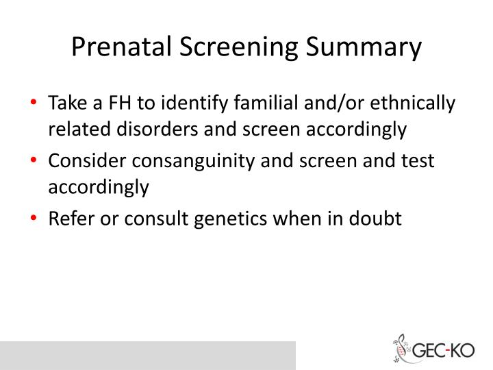 Prenatal Screening Summary