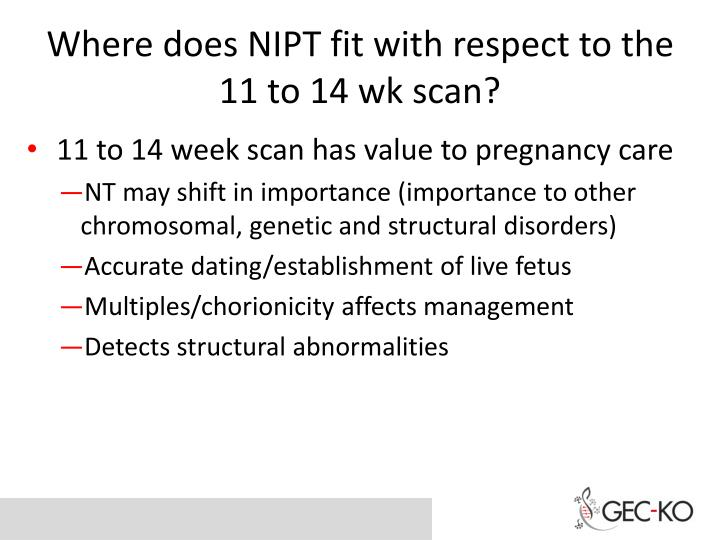 Where does NIPT fit with respect to the 11 to 14 wk scan?