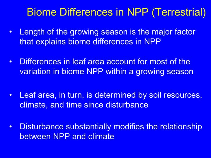 Biome Differences in NPP (Terrestrial)