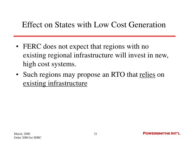 Effect on States with Low Cost Generation