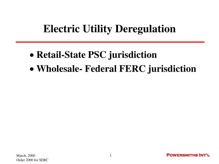 Electric utility deregulation