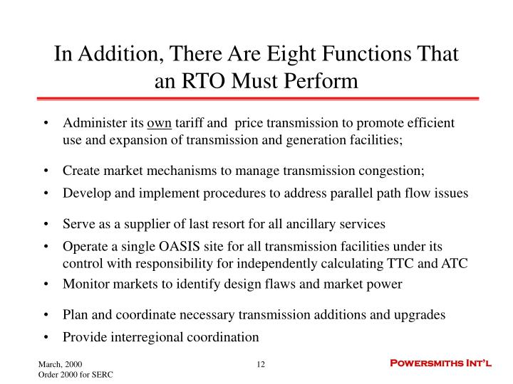 In Addition, There Are Eight Functions That an RTO Must Perform