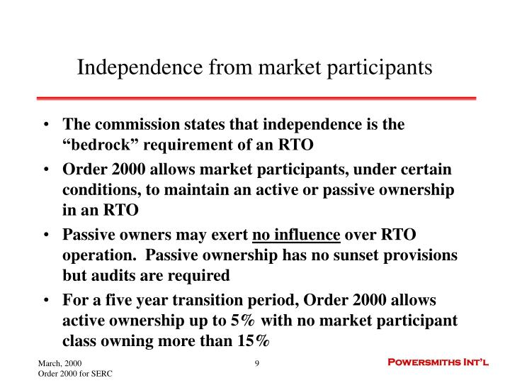 Independence from market participants