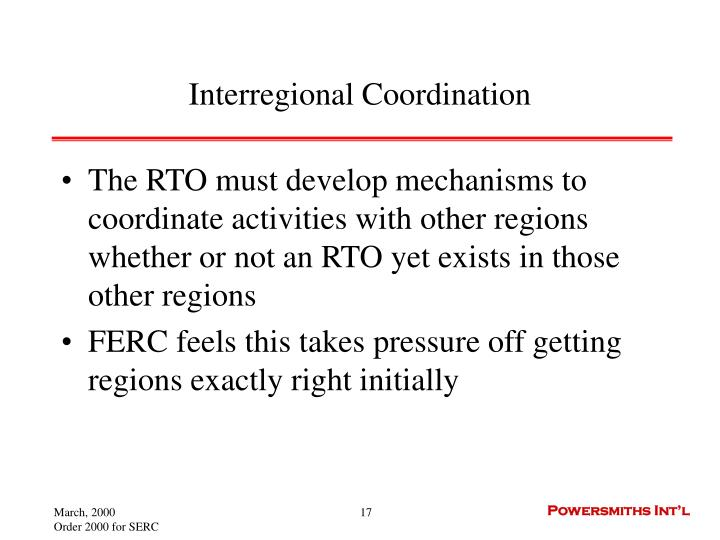 Interregional Coordination
