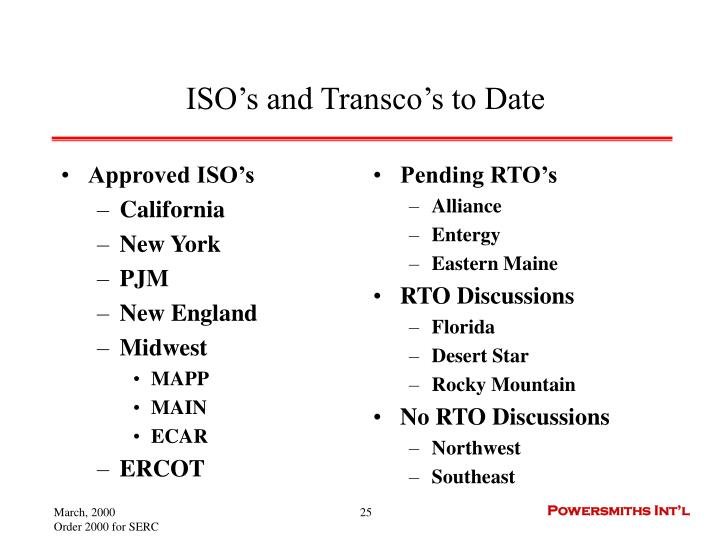 Approved ISO's