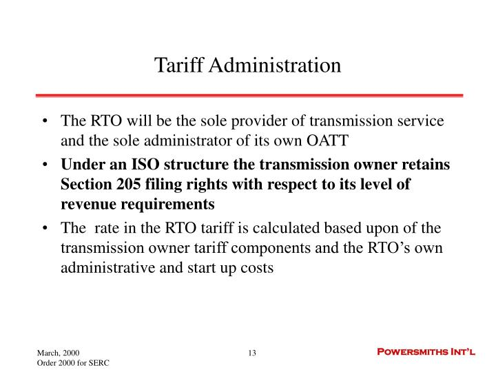 Tariff Administration