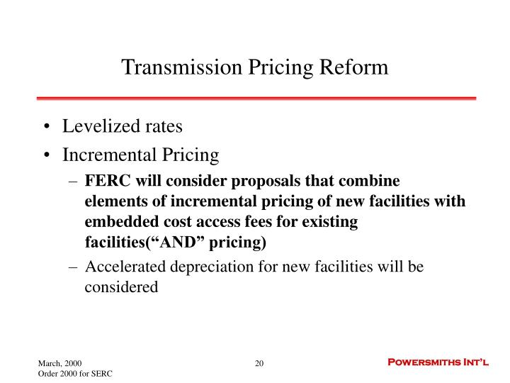 Transmission Pricing Reform