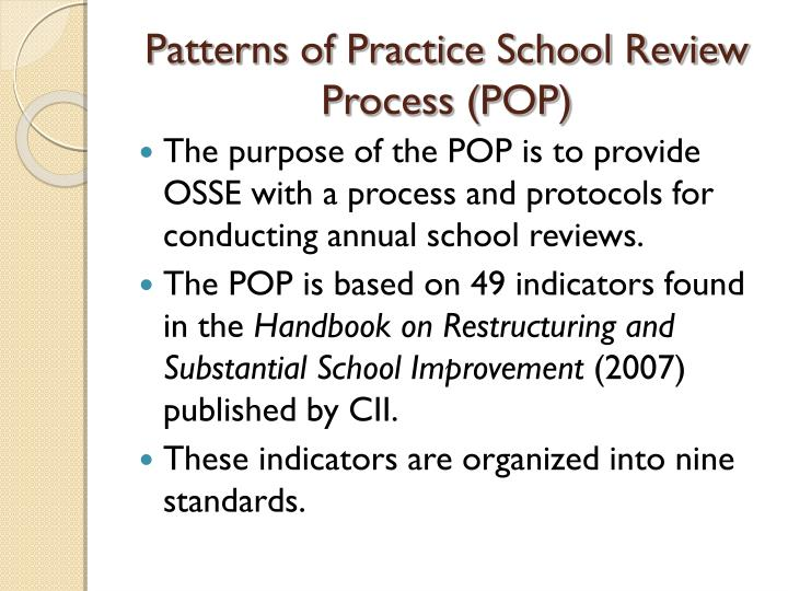 Patterns of Practice School Review Process (POP)