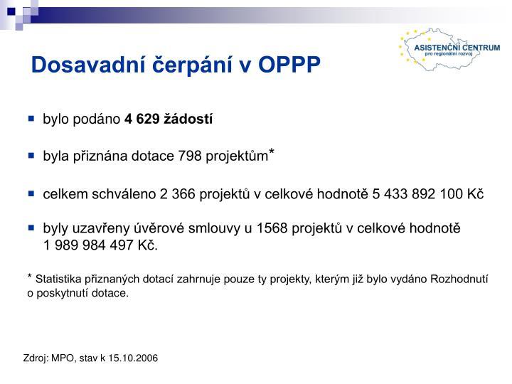 Dosavadní čerpání v OPPP