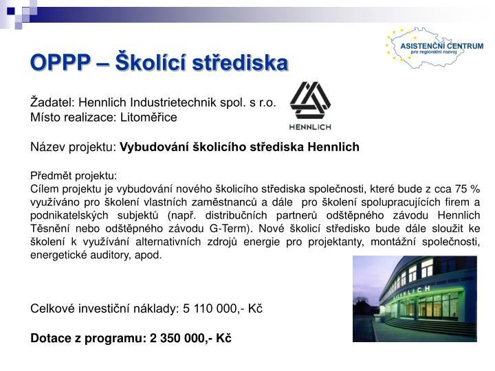 OPPP – Školící střediska