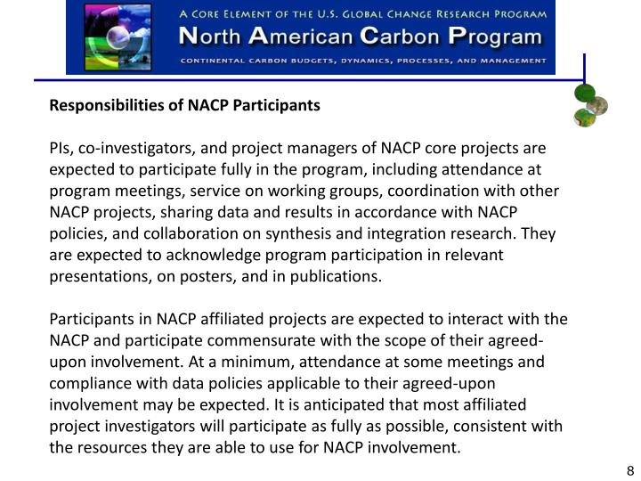 Responsibilities of NACP Participants