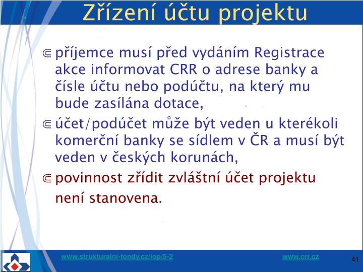 Zřízení účtu projektu