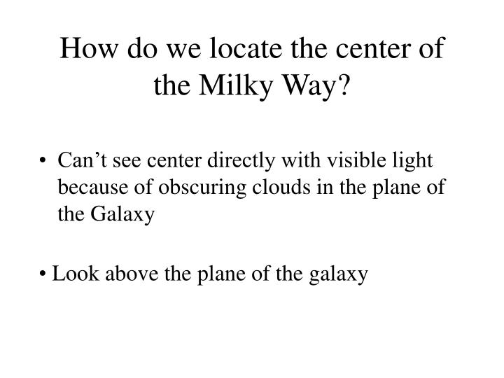 How do we locate the center of the Milky Way?