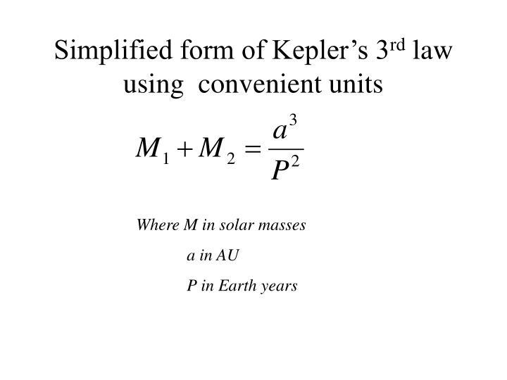 Simplified form of Kepler's 3