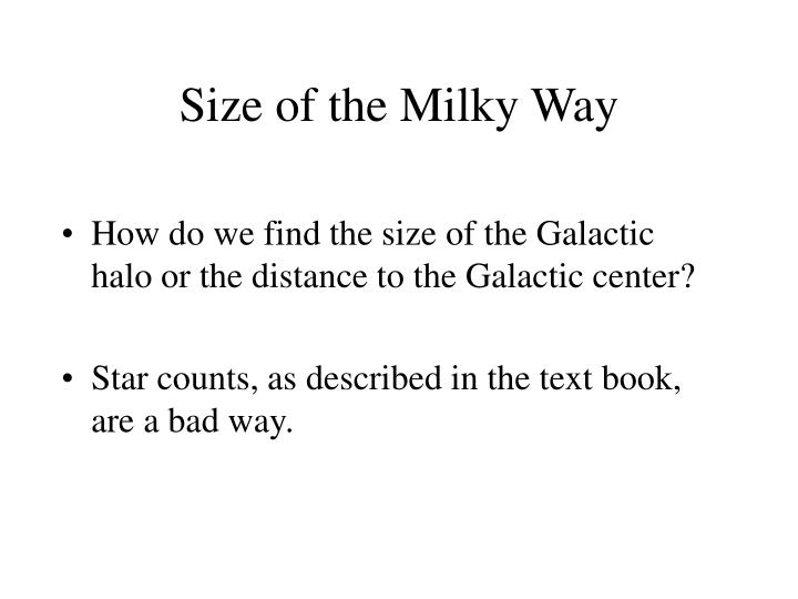 Size of the Milky Way