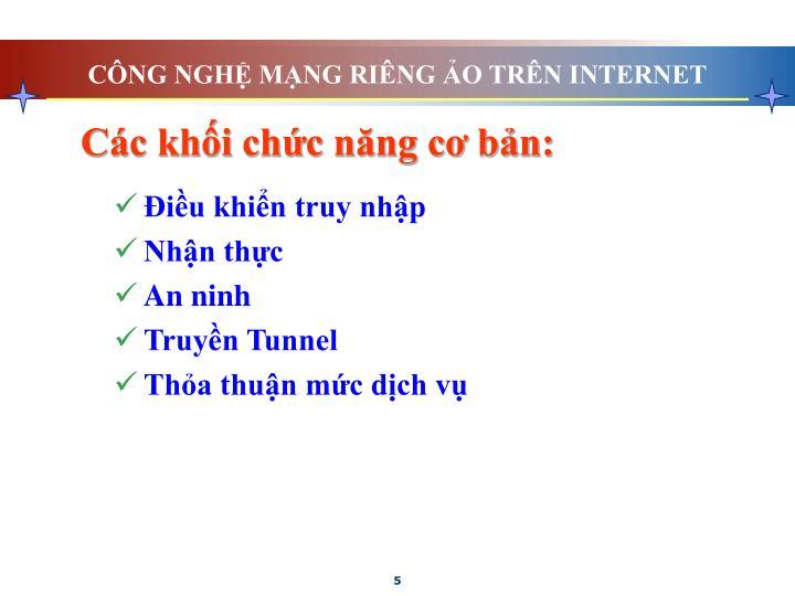 CÔNG NGHỆ MẠNG RIÊNG ẢO TRÊN INTERNET