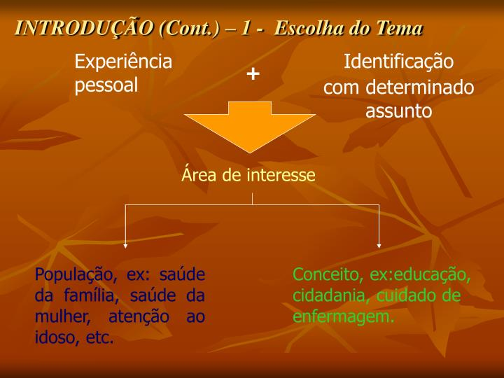 INTRODUÇÃO (Cont.) – 1 -  Escolha do Tema