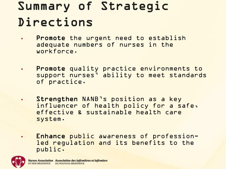 Summary of Strategic Directions