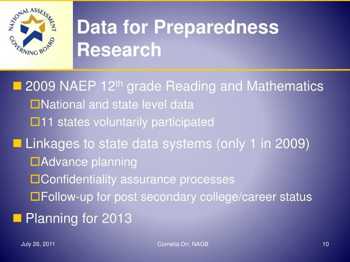 Data for Preparedness Research