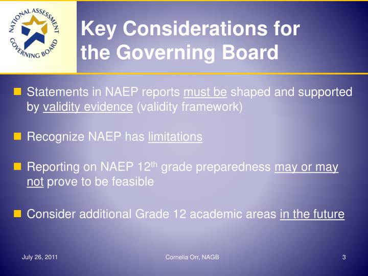 Key considerations for the governing board