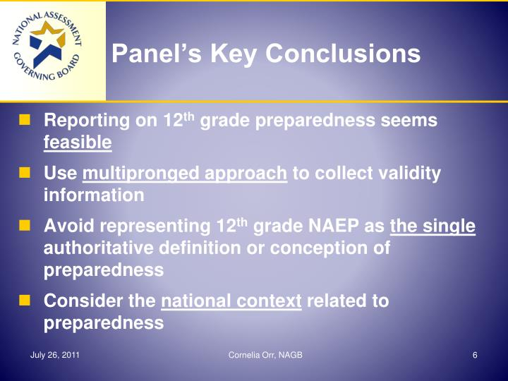 Panel's Key Conclusions