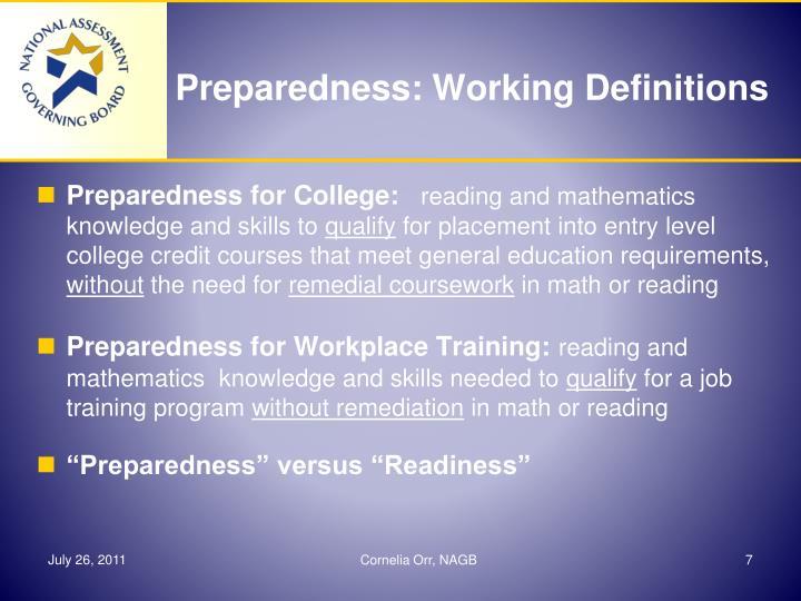 Preparedness: Working Definitions